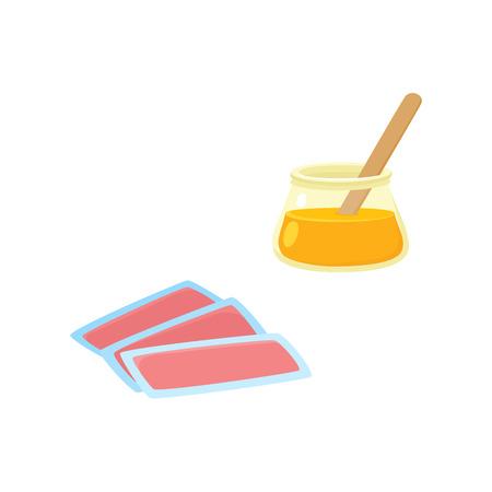 Flache Vektor Rasur, Haarentfernung, Epilation und Enthaarung Werkzeug-Icon-Set. Wachsstreifen und heiße Wachsschüssel lokalisierten Illustration auf einem weißen Hintergrund. Standard-Bild - 93761480