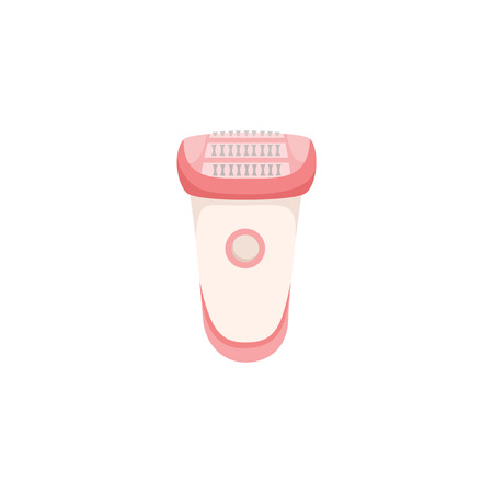 Electric epilator, unwanted hair removal procedure, flat style icon, vector illustration isolated on white background. Flat icon of cordless epilator device, hair removal concept.