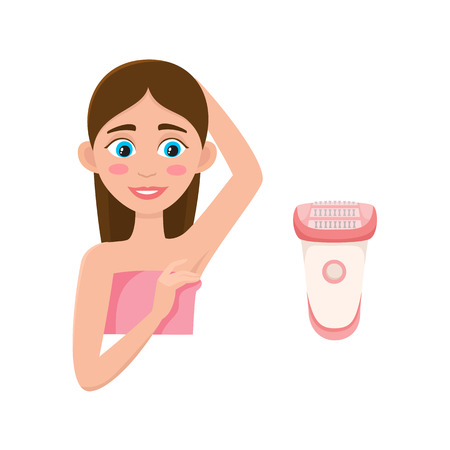 Flat vector girl in pink towel showing clean epilated armpit. Hair removal tool, armpit epilation concept and electric shave icon isolated illustration on a white background.