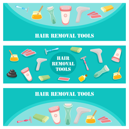 Flat vector hair removal tools banners set. Electric epilator, shaver, shaving razor, waxing strips, hot wax in bowl and laser machine icons for your design illustration on green background. Иллюстрация