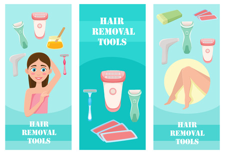 Flat vector hair removal banners set. Electric epilator, shaver, shaving razor, waxing strips, hot wax in bowl laser machine, well-groomed woman legs, girl with epilated armpit icons illustration.