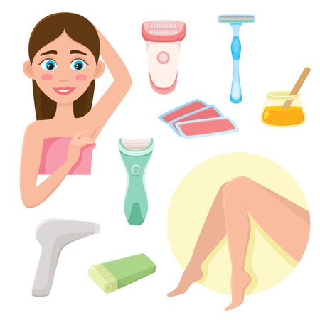Vector flat hair removal tools. Electric epilator, shaver, shaving razor, waxing strips, hot wax in bowl laser machine. Well-groomed woman legs, girl with epilated armpit icons. Isolated illustration.