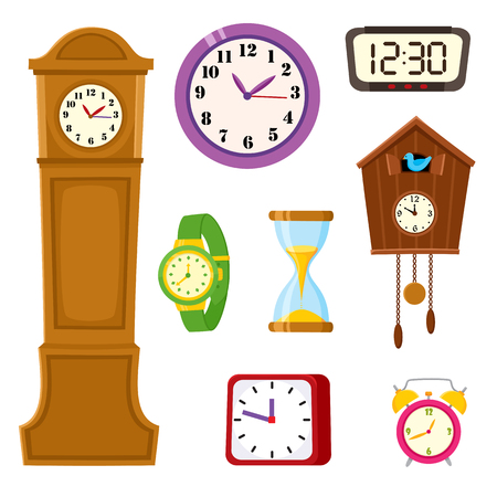 Insieme di orologi - allarme, torre, cucù, orologio da polso, clessidra, fumetto illustrazione vettoriale isolato su sfondo bianco. Set di icone di sveglia e orologio a cucù, clessidra, torre e orologio da polso. Vettoriali
