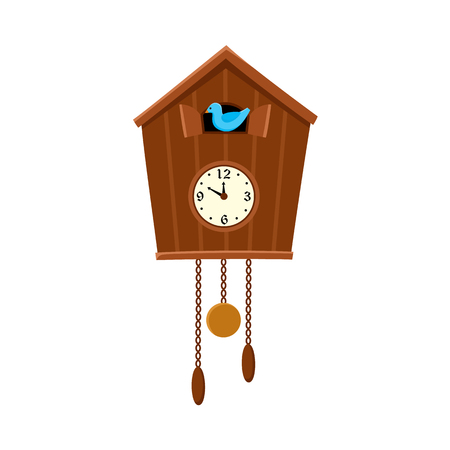 Traditional retro style cuckoo clock hanging on the wall, flat cartoon vector illustration on white background. Retro cuckoo clock hanging on the wall, interior decoration element. 일러스트