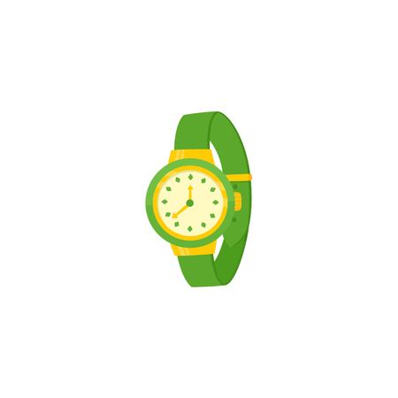 Mechanical wristwatch, wrist watch with green colored plastic wristband, flat cartoon vector illustration on white background. Modern mechanical wristwatch wrist watch with plastic wristband.