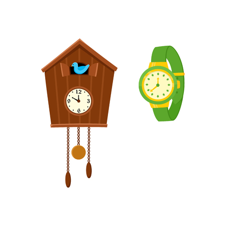 Traditional retro style cuckoo clock and modern mechanical wrist watch, flat cartoon vector illustration on white background. Cuckoo clock and wristwatch, wrist watch set.