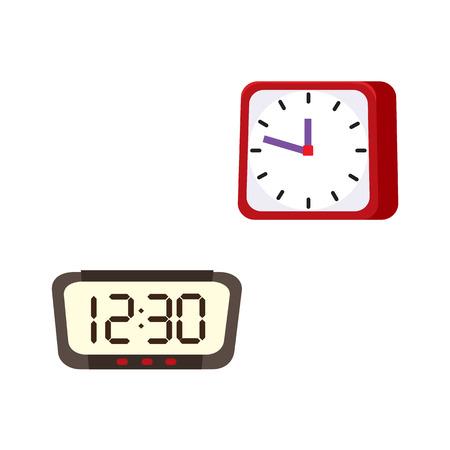 ベクトルフラットアナログ、デジタル正方形、長方形テーブルシンプルなモダン目覚まし時計アイコンのデザイン。白い背景に分離されたイラスト