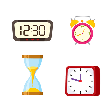 Flat vector types of clocks set. Digital rectangle and analog square, circle table alarm clock, vintage hourglass or sand glass icon isolated illustration on a white background.