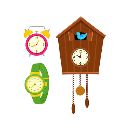 Flat vector types of clocks set. Table circle pink analog alarm clock, vintage Cuckoo-clock and green wristwatch icon isolated illustration on a white background.