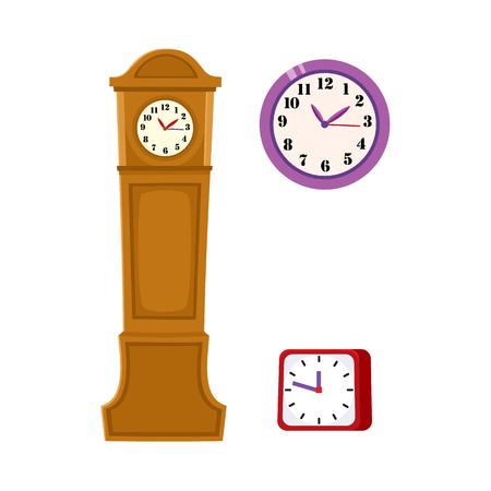 フラットベクトルアナログ正方形テーブルシンプルな近代的な目覚まし時計、壁に取り付けられた時計と白い背景に孤立したイラストのためのヴィ