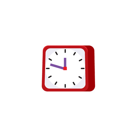 Flat vector analog square table red simple modern alarm clock icon for your design isolated illustration on a white background.