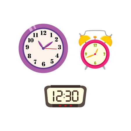 Flat vector analog wall mounted round clock, digital rectangle and analog round table simple modern alarm clock icon for your design isolated illustration on a white background. Illustration