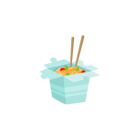 Chinese, Japanese, Asian noodle in take out box with chopsticks, cartoon vector illustration isolated on white background. Carton box with noodle and chopsticks, Chinese, Japanese, Asian fast food icon. Illustration