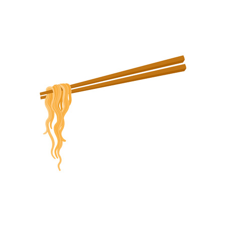 Chopsticks and noodle, Chinese, Japanese, Asian cuisine, cartoon vector illustration isolated on white background. Noodle held by two chopsticks, Asian fast food.