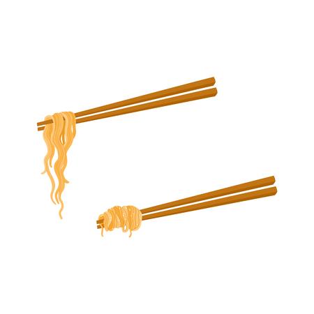 平らなベクトル竹はアジアンヌードルの鍋うどんと一緒。レストランメニューデザイン用の落書き麺アイコンは、白い背景にイラストを分離しまし