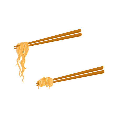 Flat vector bamboo sticks with Asian noodles wok udon. Doodle noodle icon for restaurant menu design isolated illustration on a white background.