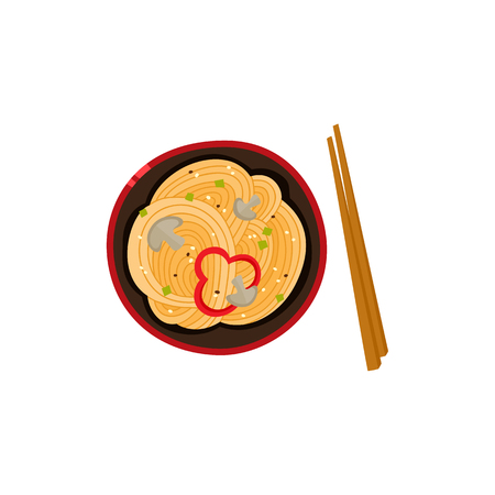 Flat vector Asian wok udon noodles with sliced pepper, mushrooms in ceramic pot with bamboo sticks top view. Stir fry eastern fast food icon for menu design isolated illustration on white background.