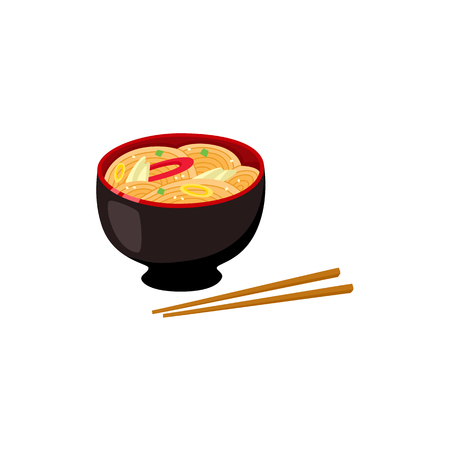 Chinese, Japanese, Asian noodle soup in bowl and couple of chopsticks, cartoon vector illustration isolated on white background. Bowl of chicken noodle soup and chopsticks, Asian fast food. Illustration