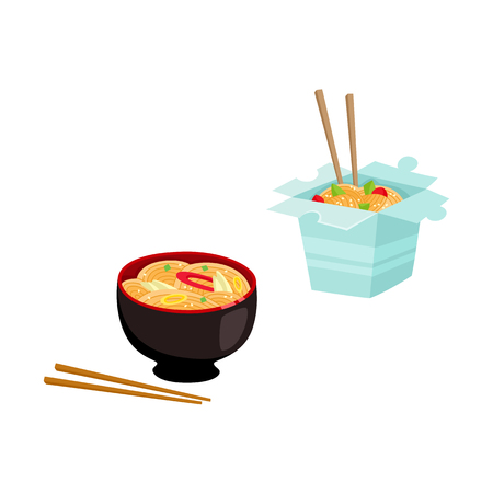 Flat vector Asian wok udon noodles in paper box, in ceramic pot with bamboo sticks top view. Stir fry eastern fast food icon for menu design isolated illustration on white background. Ilustrace