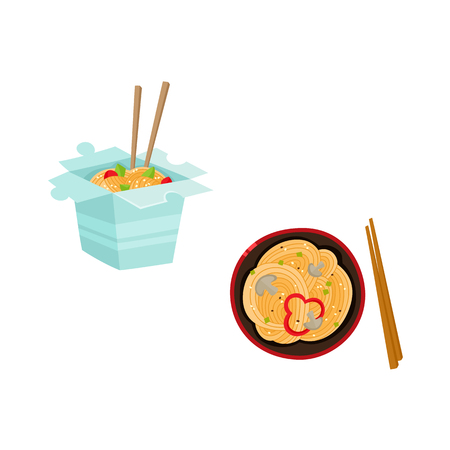Flat vector Asian wok udon noodles in paper box, in ceramic pot with bamboo sticks top view. Stir fry eastern fast food icon for menu design isolated illustration on white background. Illustration