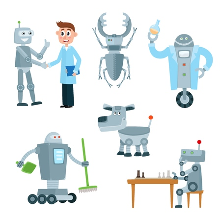 Set of robot assistants, friends - cleaner, chess player, lab worker and dog cartoon vector illustration isolated on white background. Set of various carton robots.