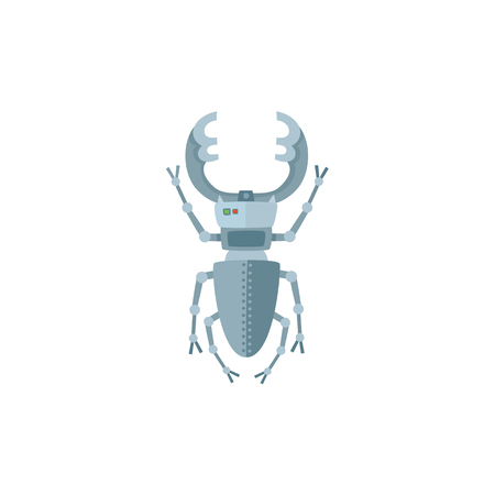 金属昆虫、バグ、ロボットキャラクター、おもちゃ、軍事スパイ技術、漫画ベクトルイラストは白い背景に隔離されています。カットロボット昆虫