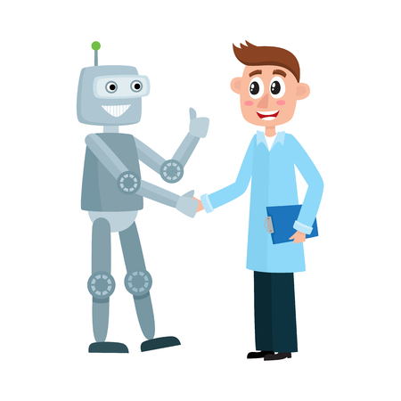 Happy male scientist in a lab coat shaking hands with smiling robot, cartoon vector illustration isolated on white background. Happy robot and scientist shaking hands, artificial intelligence.