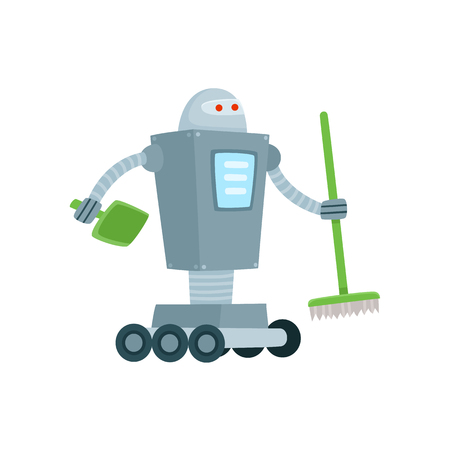 Robot cleaner, home assistant with broom and shovel, cartoon vector illustration isolated on white background. Funny robot assistant, home cleaner sweeping floor with broom and shovel.