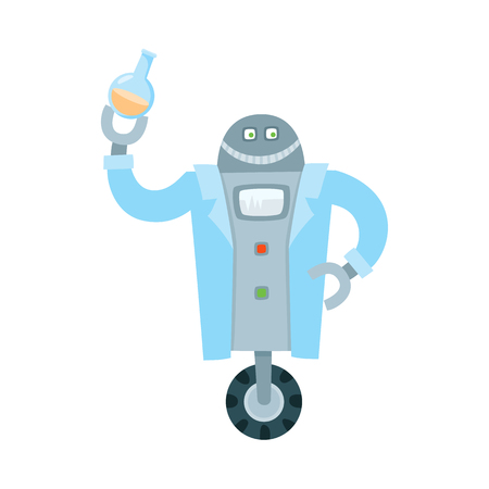 Funny flat robots set, humanoid cleaner on wheels holding fetlock, shovel, laboratory assistant with test-tube, robot playing chess. Modern technology, artificial intelligence isolated vector illustration.