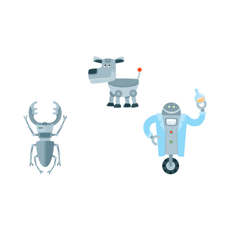 Flat robots set, humanoid cleaner on wheels holding fetlock, shovel, laboratory assistant with test-tube, robot playing chess. Modern technology, artificial intelligence isolated vector illustration.