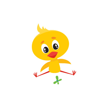 Cute baby chicken character sitting and looking at butterfly, Easter icon, cartoon vector illustration on white background. Baby chicken character playing with butterfly, Easter symbol. Çizim