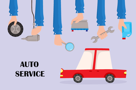 Vector flat auto service poster illustration with handyman hands holding repairing tools and car. Man hand in uniform holding wrench, engine oil canister, automatic screwdriver, car wheel.