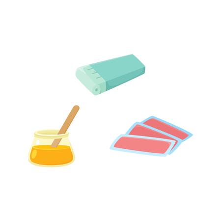 Vector plat scheren, ontharing, epileren en ontharen tools icon set. Elektrische epilator, hete waskom en wasstrips. Geïsoleerde illustratie op een witte achtergrond. Stock Illustratie