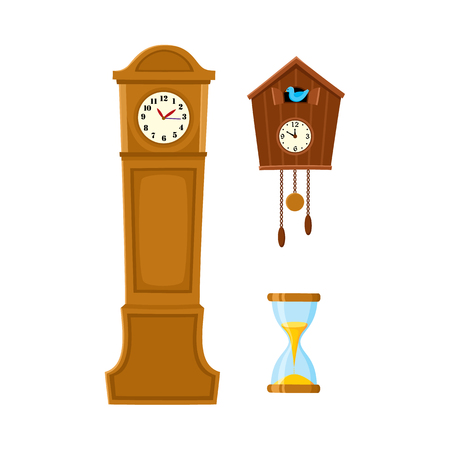 Vector flat vintage wall mounted cuckoo-clock alarm clock, vintage grandfather clock, hourglass or sand glass icon for your design. Isolated illustration on a white background.