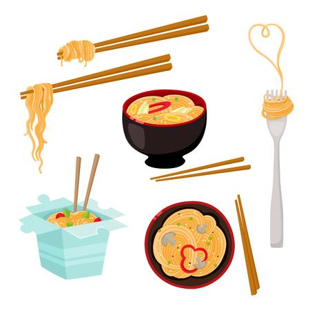 중국어, 일본어, 아시아 국수 세트 - 그릇, 젓가락, 테이크 아웃 상자, 포크, 만화 벡터 일러스트 레이 션 흰색 배경에 고립. 상자, 그릇, 포크와 국수, 아 일러스트