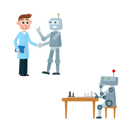 Funny flat man with clipboard handshaking with humanoid robot assistant showing thumbs up, robot playing chess at table. Modern technology, artificial intelligence, isolated vector illustration.
