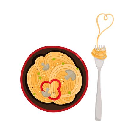 벡터 평면 아시아 wok 우동 슬라이스 후추, 포크 상위 뷰와 세라믹 냄비에 버섯. 튀김 동부 패스트 푸드 아이콘 디자인을위한 약동. 흰색 배경에 고립 된