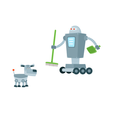 Funny flat robots set humanoid cleaner on wheels holding fetlock and shovel, mechanical dog with antenna-tail. Modern technology, artificial intelligence concept isolated vector illustration.