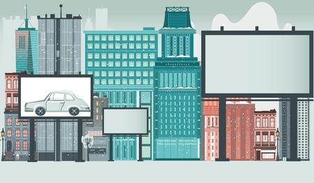 高層ビルとテキスト、フラットベクトルイラストレーションのためのスペースを持つ空白の広告看板と都市、都市、ダウンタウンのシーン。都市、