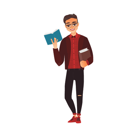 Young adult, student, guy in glasses holding and reading a book, flat cartoon vector illustration isolated on white background. College, university student in hipster clothes and glasses reading book