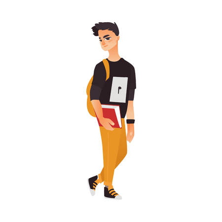 Student, guy in sweatshirt, pants and sneakers holding backpack and book, flat cartoon vector illustration isolated on white background. College, university student with book and backpack Illustration