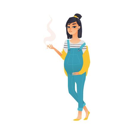 젊은 임신 한 여자는 담배, 전체 길이 초상화, 평면 스타일 벡터 일러스트 흰색 배경에 고립 된 흡연. 젊고 예쁜 임신 한 여자의 전체 길이 초상화