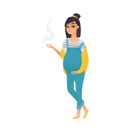 Young pregnant woman smoking a cigarette, full length portrait, flat style vector illustrations isolated on white background. Full length portrait of young and pretty smoking pregnant woman