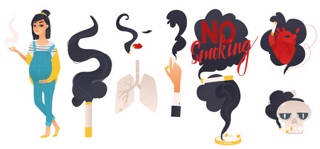 Dangers of smoking, health risk, hand, female face and pregnant woman with cigarette, skull and ashtray, flat vector illustration set isolated on white background. Dangers, risk, harm of smoking set Ilustração