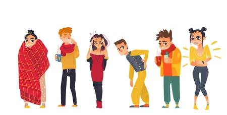 Satz kranke Leute - Grippe, Kälte, Kopfschmerzen, Rückenschmerzen, Magenschmerzen, Fieber, flache Karikaturvektorillustration lokalisiert auf weißem Hintergrund. Gruppe von Menschen, Männern und Frauen, die unter Schmerzen leiden und krank sind Standard-Bild - 93766792
