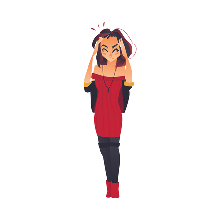 Pretty girl, woman having headache, migraine, pressing hands to her forehead, flat cartoon vector illustration isolated on white background. Full length portrait of girl, woman having headache 일러스트