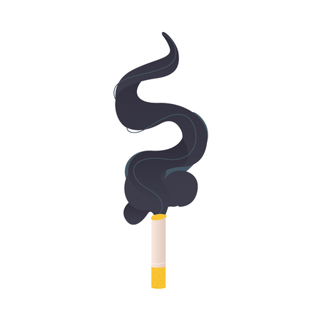 Burning, smoking cigarette and clout of black smoke, flat style vector illustrations isolated on white background.