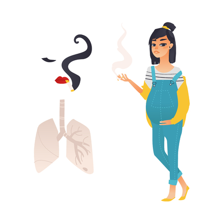 Vector flat danger, risk of smoking concept icon. Smoking pregnant young woman, girl face silhouette with cigarette, lungs. Nicotine addiction, cancer disease, social advertisement design illustration Ilustracja