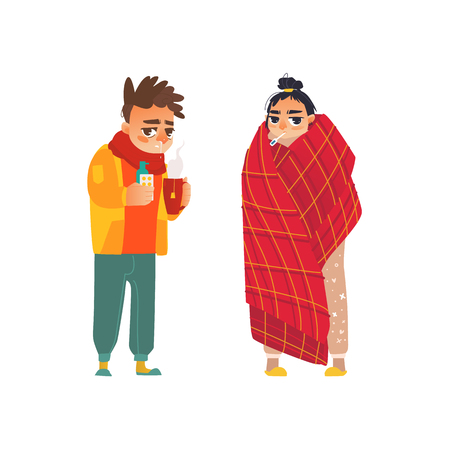 A vector flat young sick man in scarf suffering from runny nose.