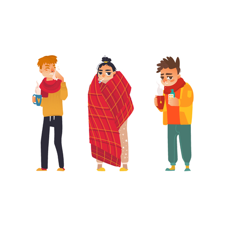 A vector flat young sick men in scarf suffering from runny nose. Ilustracja
